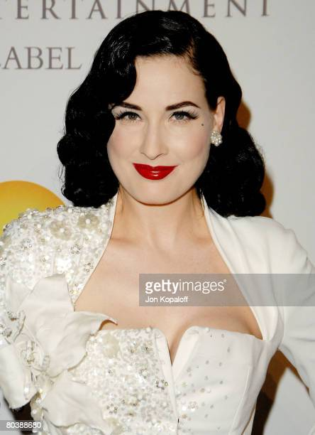 Actress Dita Von Teese arrives to the Clive Davis PreGrammy Party at the Beverly Hilton Hotel on February 9 2008 in Beverly Hills California