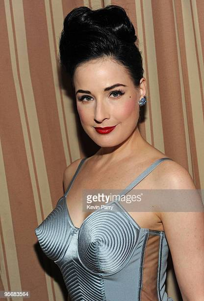 Actress Dita Von Teese attends the Audi Golden Globes Celebration with Nominee Anna Paquin at the Sunset Tower Hotel on January 10, 2010 in West...