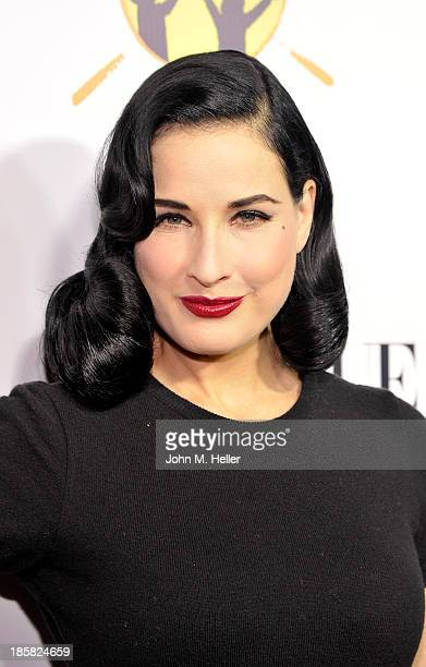 Actress Dita Von Teese attends the Dream For Future Africa Foundation's Inaugural Gala Honoring Franca Sozzani Of VOGUE Italia at Spago on October 24...