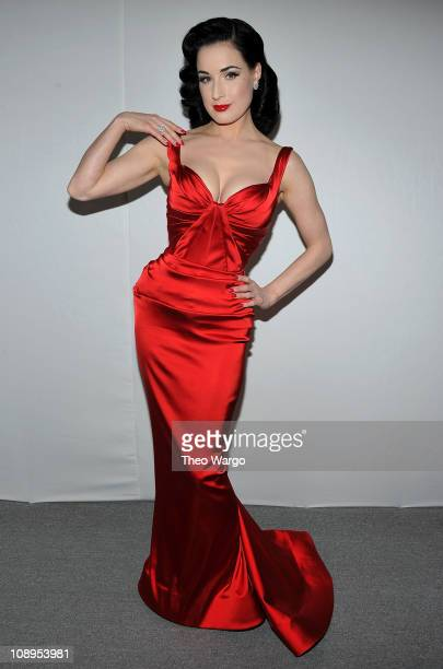 Actress Dita Von Teese attends the Heart Truth's Red Dress Collection 2011 during MecerdesBenz fashion week at The Theatre at Lincoln Center on...