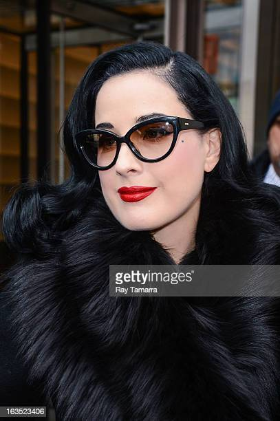 Actress Dita Von Teese leaves the 'Big Morning Buzz' taping at the VH1 Studios on March 11 2013 in New York City