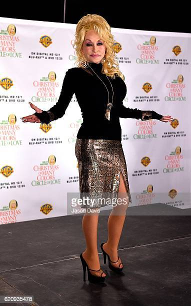 Actress Dolly Parton arrives for a press conference with Jennifer Nettles for their upcoming film Christmas Of Many Colors Circle Of Love at the...