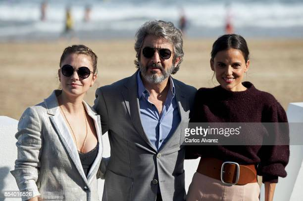 Actress Dolores Fonzi actor Ricardo Darin and actress Elena Anaya attend 'La Cordillera' photocall during the 65th San Sebastian International Film...
