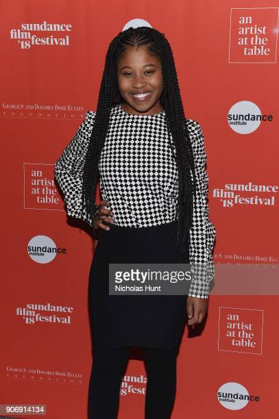 Actress Dominique Fishback attends An Artist at the Table Cocktail Reception and Dinner during the 2018 Sundance Film Festival at DeJoria Center on...