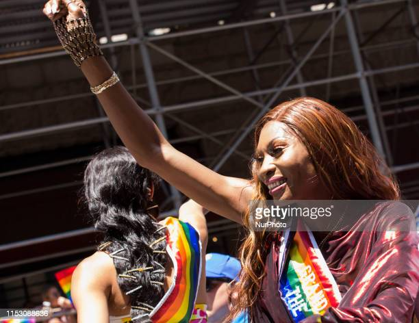 Actress Dominique Jackson from the popular tv series Pose celebrates as a Grand Marshall at the annual Pride Parade on Sunday June 29 2019 in New...