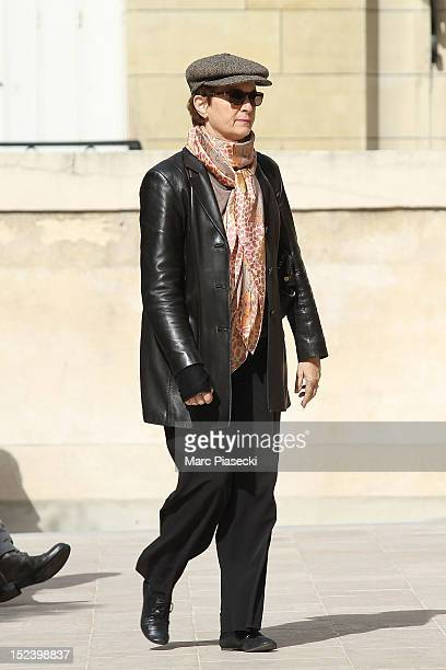 Actress Dominique Lavanant arrives to attend actor Pierre Mondy's funeral at Eglise SaintHonored'Eylau on September 20 2012 in Paris France