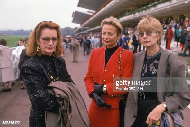Actress Dominique Lavanant on left and cartoonist Claire Bretecher on right at Prix de L Arc de Triomphe horse racing on October 2 1988 in Paris...