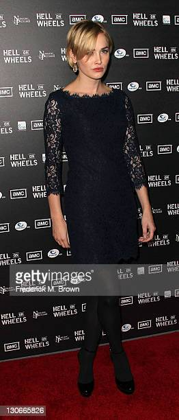 Actress Dominique McElligott attends the premiere of AMC's Hell on Wheels at LA Live on October 27 2011 in Los Angeles California