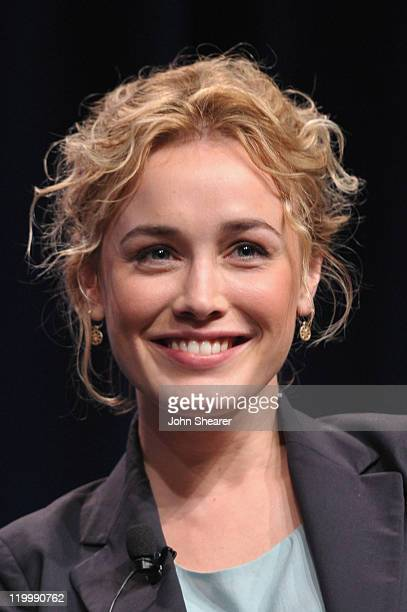 Actress Dominique McElligott speaks during AMC's Hell on Wheels TCA Panel during the 2011 Summer TCA Tour at the Beverly Hilton on July 28 2011 in...