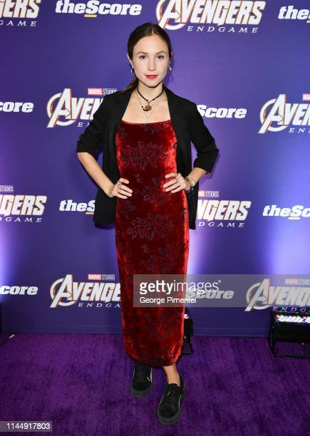 Actress Dominique ProvostChalkley attends the 'Avengers Endgame' Canadian Premiere at Scotiabank Theatre on April 24 2019 in Toronto Canada