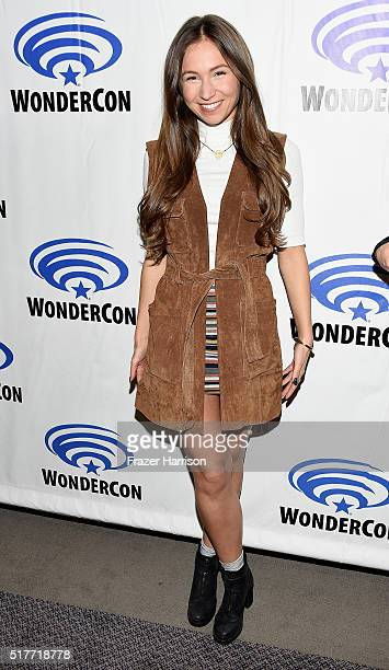 Actress Dominique ProvostChalkley attends the Wynonna Earp panel at WonderCon 2016 Day 2 at Los Angeles Convention Center on March 26 2016 in Los...
