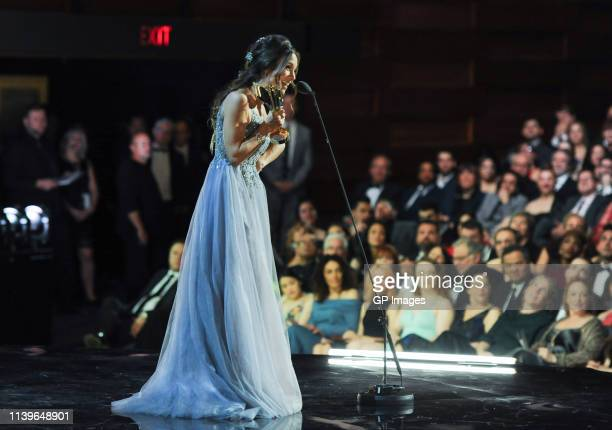Actress Dominique ProvostChalkley receives the Cogeco Fund Audience Choice Award at the 2019 Canadian Screen Awards Broadcast Gala held at Sony...