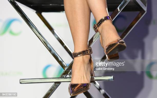 Actress Dominique ProvostChalkley shoes detail speaks at the WayHaught panel during the ClexaCon 2018 convention at the Tropicana Las Vegas on April...