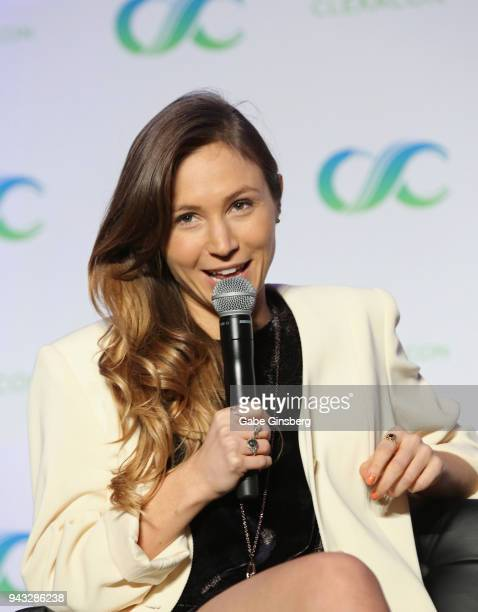 Actress Dominique ProvostChalkley speaks at the WayHaught panel during the ClexaCon 2018 convention at the Tropicana Las Vegas on April 7 2018 in Las...