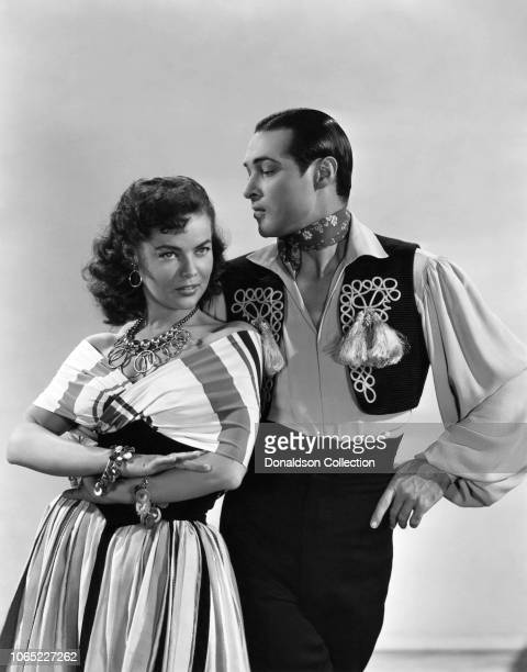 Actress Dona Drake and Anthony Dexter in a scene from the movie Valentino