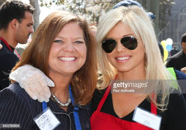 Actress Donna D'Errico and her sister Mary Daniel attend the Los Angeles Mission Easter Charity event at Los Angeles Mission on March 30 2018 in Los...