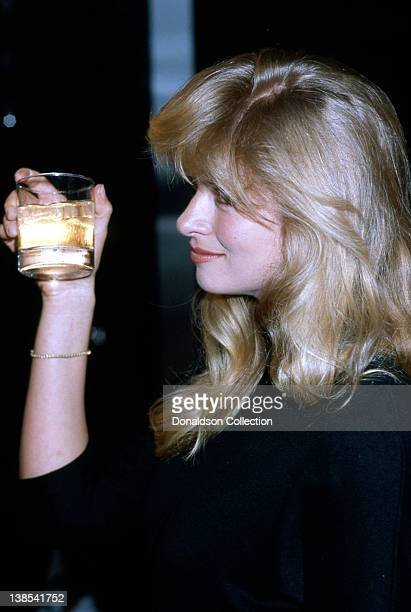 Actress Donna Dixon holds up a drink at the book release party for Renee Taylor's book My Life On A Diet Confessions of a Hollywood Diet Junkie in...