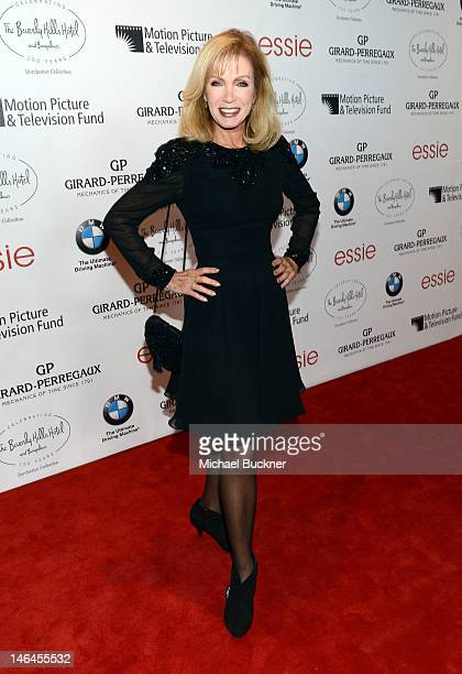 Actress Donna Mills attends the 100th anniversary celebration of the Beverly Hills Hotel Bungalows supporting the Motion Picture Television Fund and...