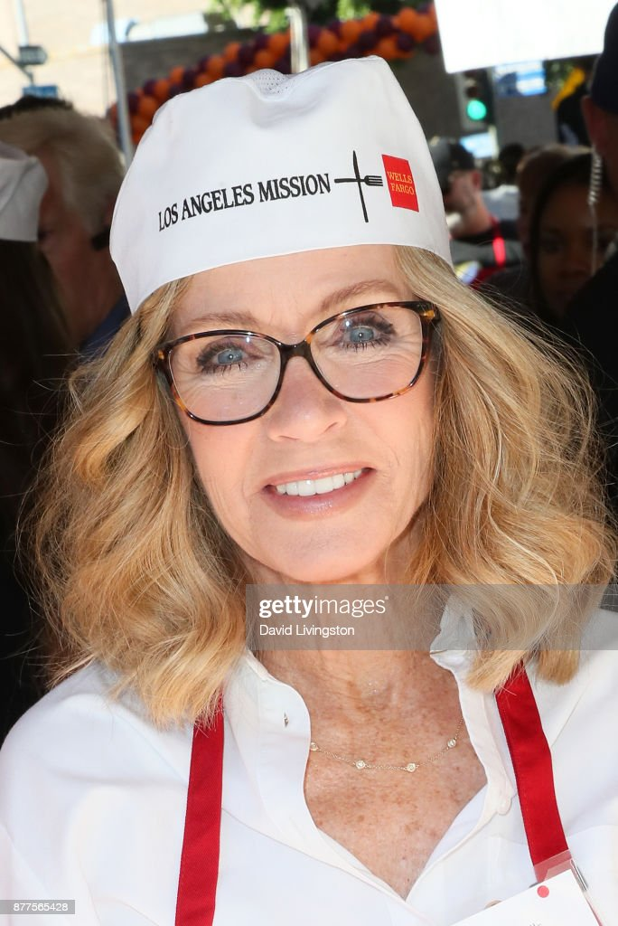 Actress Donna Mills is seen at the Los Angeles Mission Thanksgiving Meal for the homeless at the Los Angeles Mission on November 22, 2017 in Los Angeles, California.