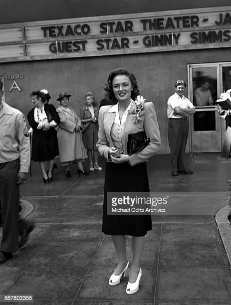 Actress Donna Reed smiles as she attends an event in Los Angeles, California.