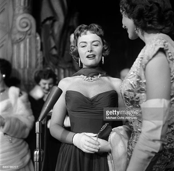 Actress Donna Reed talks to a reporter before the Academy Awards in Los AngelesCA