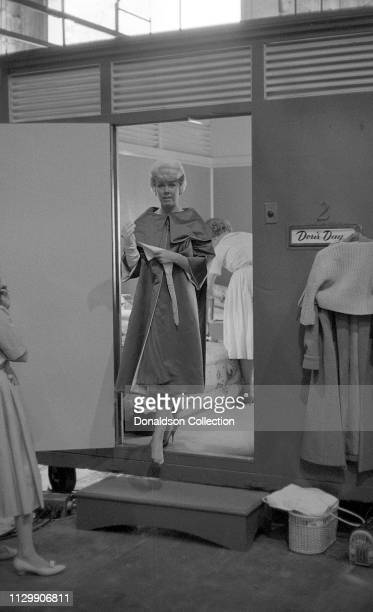 Actress Doris Day leaving her dressing room on the set of the movie 'Pillow Talk' in 1959