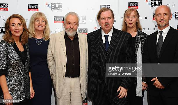 Actress Dorothy Atkinson producer Georgina Lowe director Mike Leigh and actor Timothy Spall Ruth Sheen and Martin Savage attend the red carpet of 'Mr...