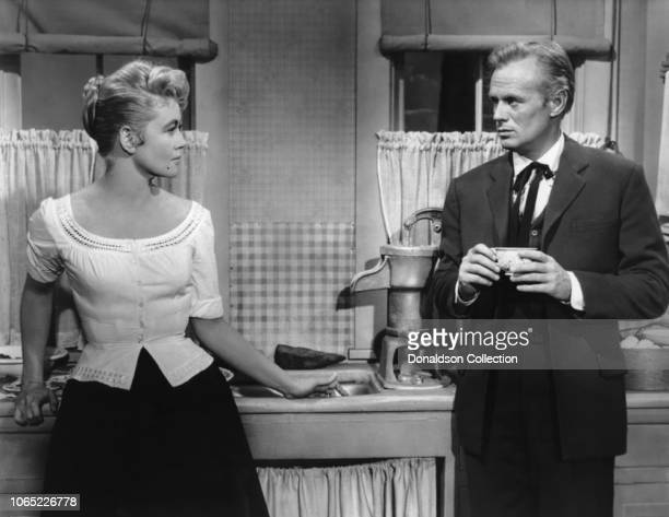 Actress Dorothy Malone and Richard Widmark in a scene from the movie Warlock