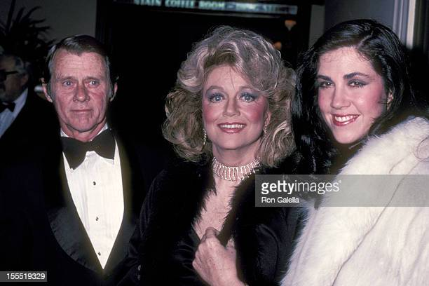 Actress Dorothy Malone daughter Mimi Bergerac and guest attend Mavis Nabors Birthday Party on February 6 1983 at The Crystal Room Beverly Hills Hotel...
