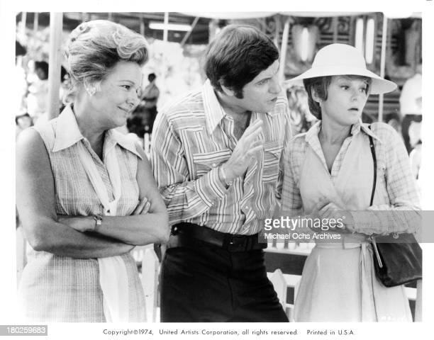 Actress Dorothy Shay actor Joseph Bologna and actress Barbara Harris on set of the United Artist movie Mixed Company in 1974