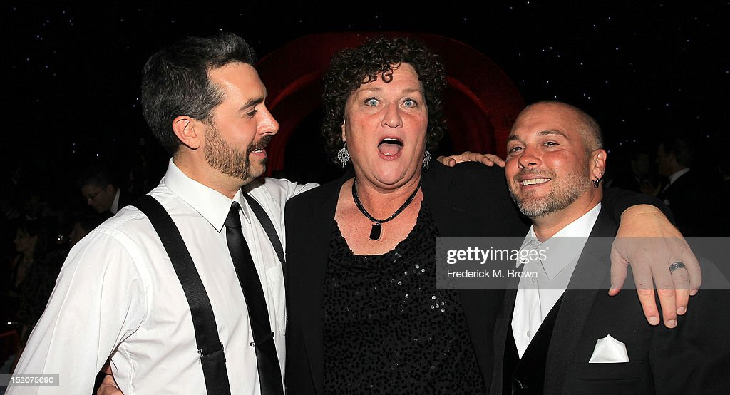 Actress Dot Marie Jones (C) and her guests attend The Academy Of Television Arts & Sciences 2012 Creative Arts Emmy Awards' Governors Ball at the Los Angeles Convention Center on September 15, 2012 in Los Angeles, California.