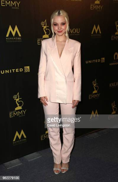 Actress Dove Cameron attends the press room at the 45th Annual Daytime Creative Arts Emmy Awards at Pasadena Civic Auditorium on April 27 2018 in...