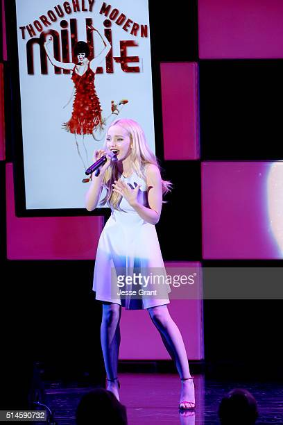 Actress Dove Cameron performs onstage during the 24th and final 'A Night at Sardi's' to benefit the Alzheimer's Association at The Beverly Hilton...