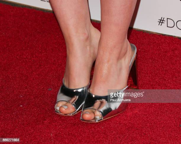 Actress Dove Cameron Shoe Detail attends the launch party for the Dove x BELLAMI collection at Unici Casa Gallery on December 2 2017 in Culver City...