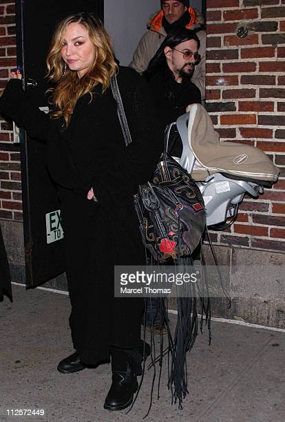Actress Drea De Matteo musician Shooter Jennings and their daughter Alabama Gypsy Rose Jennings outside the Ed Sullivan Theater for a taping of 'Late...