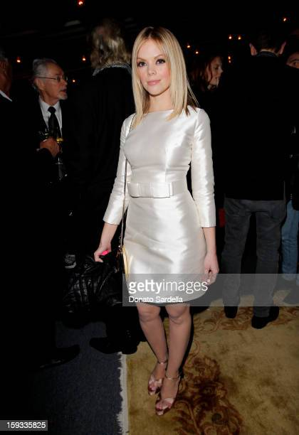 """Actress Dreama Walker attends W Magazine's 'Best Performances Issue"""" and the Golden Globe Awards celebration with W Magazine Cadillac and Dom..."""