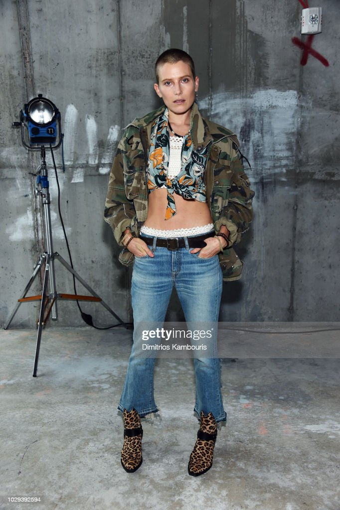 Actress Dree Hemingway poses backstage at the R13 Show during New York Fashion Week on September 8, 2018 in New York City.