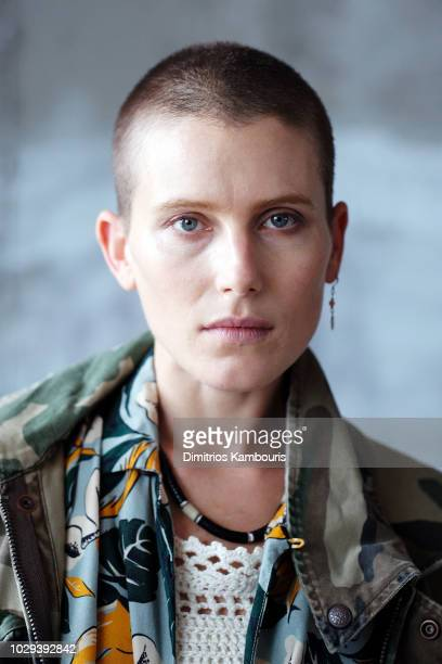Actress Dree Hemingway poses backstage at the R13 Show during New York Fashion Week on September 8 2018 in New York City