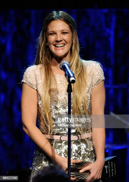 Actress Drew Barrymore accepts the 2010 Vanguard Award onstage at the 21st Annual GLAAD Media Awards held at Hyatt Regency Century Plaza Hotel on...