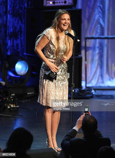 Actress Drew Barrymore accepts the 2010 Vanguard Award onstage at the 21st Annual GLAAD Media Awards held at Hyatt Regency Century Plaza on April 17...