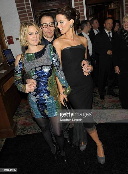 Actress Drew Barrymore actor Sam Rockwell and actress Kate Beckinsale attend Tribeca Film Institute's benefit screening after party for Everybody's...