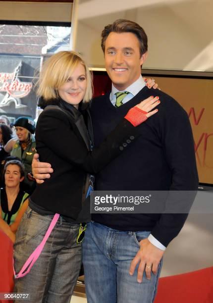 Actress Drew Barrymore and ETalk Host Ben Mulroney visit the ETalk Studios on September 12 2009 in Toronto Canada