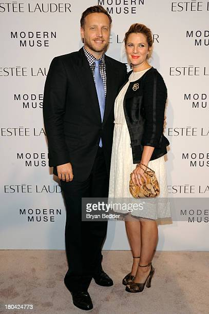 Actress Drew Barrymore and InStyle Managing Editor Ariel Foxman attend the Estee Lauder Modern Muse Fragrance Launch Party at the Guggenheim Museum...