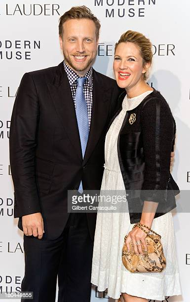 Actress Drew Barrymore and InStyle Managing Editor Ariel Foxman attend the Estee Lauder Modern Muse Fragrance Launch at Guggenheim Museum on...