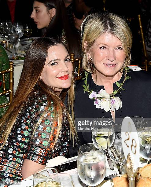 Actress Drew Barrymore and Martha Stewart attend ASPCA 19th Annual Bergh Ball honoring Drew Barrymore hosted by Nathan Lane wiith music by Mark...
