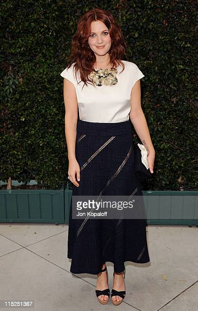 Actress Drew Barrymore arrives at Chanel Hosts Benefit Dinner For The Natural Resources Defense Council's Ocean Initiative at a private residence on...