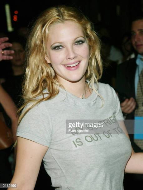 """Actress Drew Barrymore arrives at the after-party for the special screening of """"Charlie's Angels: Full Throttle"""" at Eyebeam Atelier June 25, 2003 in..."""
