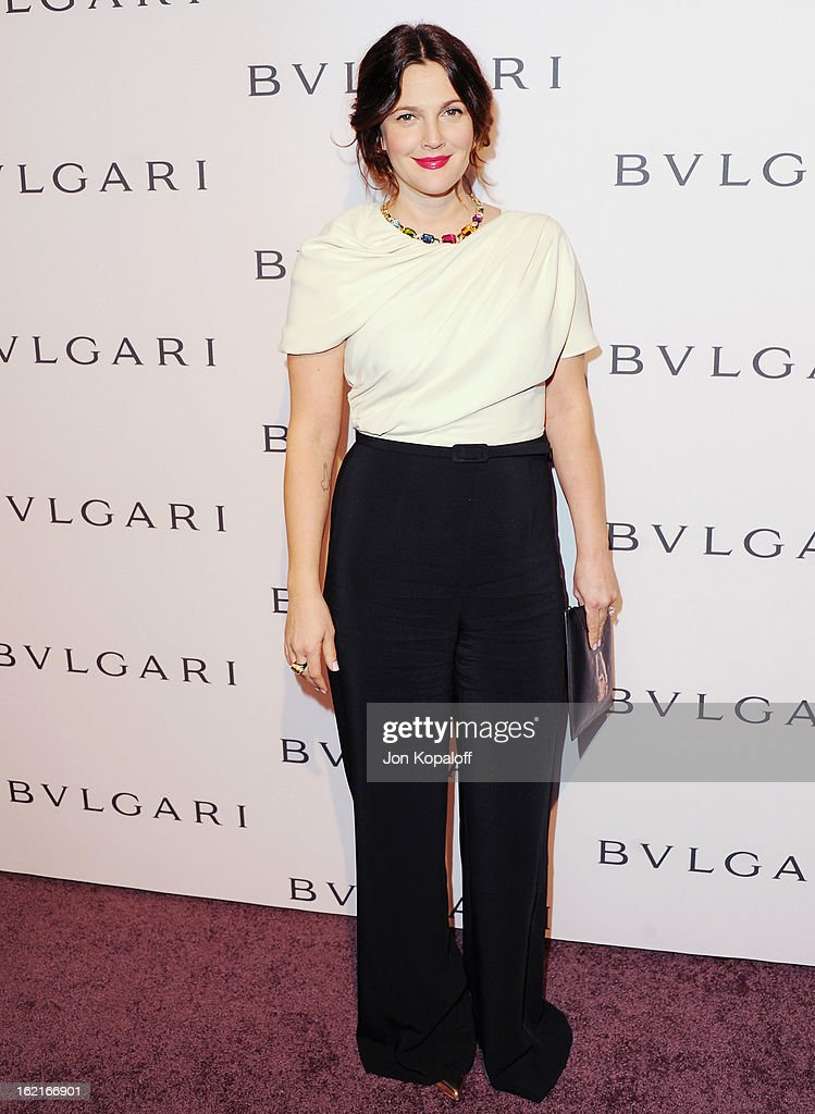 Actress Drew Barrymore arrives at the Elizabeth Taylor Bulgari Event At The New Bulgari Beverly Hills Boutique on February 19, 2013 in Beverly Hills, California.