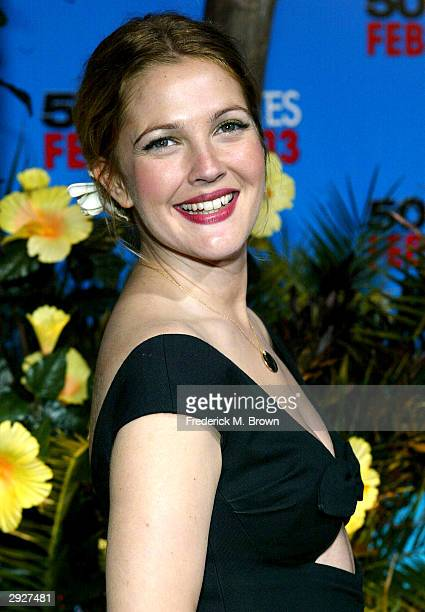Actress Drew Barrymore arrives at the premiere of '50 First Dates' at the Mann Village on February 3 2004 in Westwood California