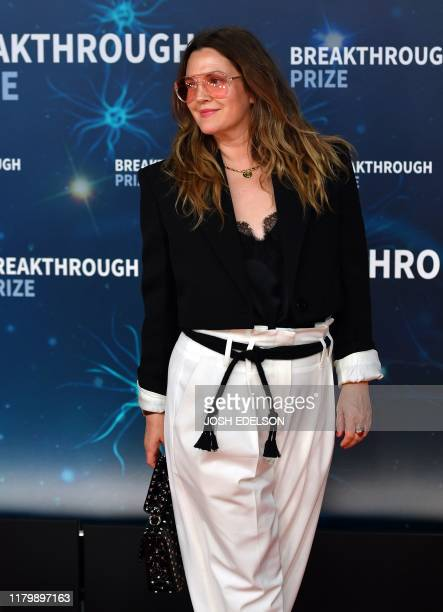 US actress Drew Barrymore arrives for the 8th annual Breakthrough Prize awards ceremony at NASA Ames Research Center in Mountain View California on...